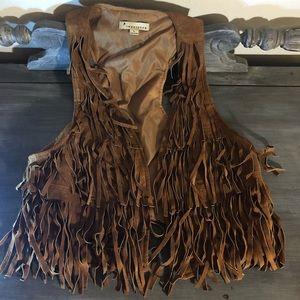 Forever 21 boho chic leather fringe vest large